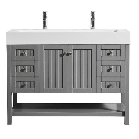 "Image of Vinnova Pavia 48"" Contemporary Grey Single Vanity 755048-GR-WH-NM 755048-GR-WH-NM"