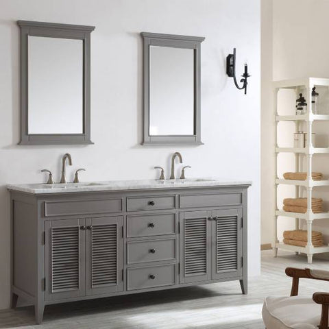 "Vinnova Piedmont 72"" Transitional Grey Double Sink Vanity Set 708072-GR-CA"