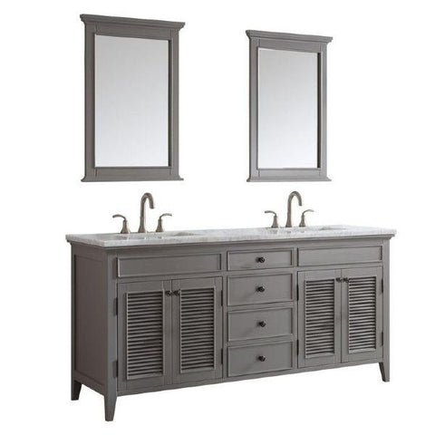 "Vinnova Piedmont 72"" Transitional Grey Double Sink Vanity Set 708072-GR-CA 708072-GR-CA"