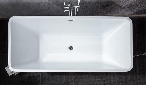 "Image of Vinter 67"" Free Standing Acrylic Vintage Freestanding Bathtub w/ Chrome Drain LD901167A1C0000"