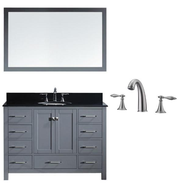Virtu Caroline Ave 48 Grey Single Bathroom Vanity w/ Black Top GS-50048 GS-50048-BGRO-GR-001