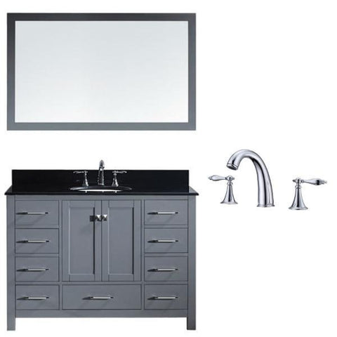 Image of Virtu Caroline Ave 48 Grey Single Bathroom Vanity w/ Black Top GS-50048 GS-50048-BGRO-GR-002