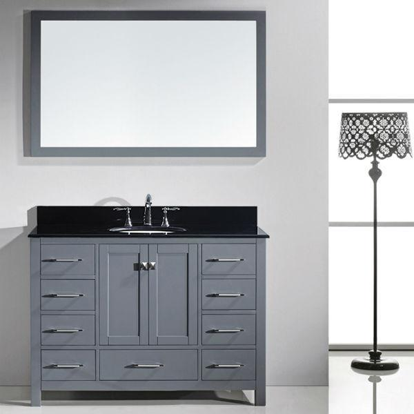Virtu Caroline Ave 48 Grey Single Bathroom Vanity w/ Black Top GS-50048