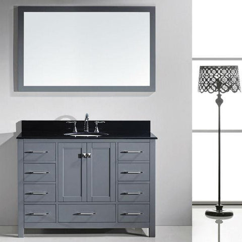 Image of Virtu Caroline Ave 48 Grey Single Bathroom Vanity w/ Black Top GS-50048