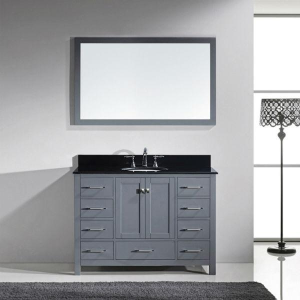 Virtu Caroline Ave 48 Grey Single Bathroom Vanity w/ Black Top GS-50048 GS-50048-BGRO-GR