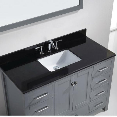 Image of Virtu Caroline Ave 48 Grey Single Bathroom Vanity w/ Black Top GS-50048 GS-50048-BGRO-GR