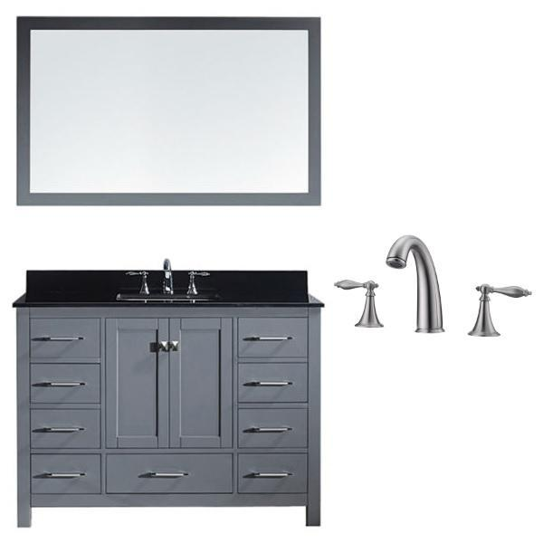 Virtu Caroline Ave 48 Grey Single Bathroom Vanity w/ Black Top GS-50048 GS-50048-BGSQ-GR-001