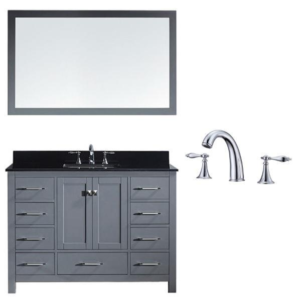 Virtu Caroline Ave 48 Grey Single Bathroom Vanity w/ Black Top GS-50048 GS-50048-BGSQ-GR-002