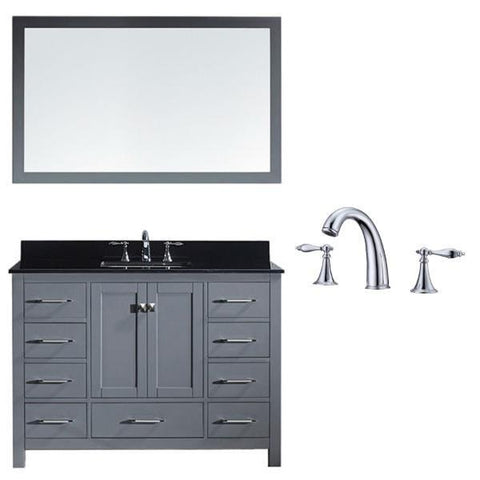 Image of Virtu Caroline Ave 48 Grey Single Bathroom Vanity w/ Black Top GS-50048 GS-50048-BGSQ-GR-002