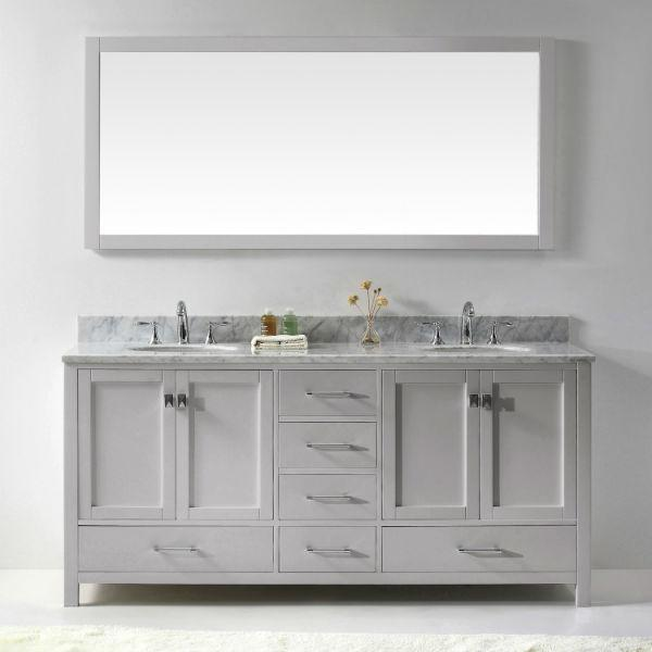 "Virtu Caroline Ave 72"" Cashmere Double Bathroom Vanity w/ White Top GD-50072"