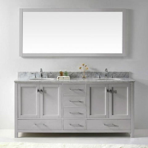 "Image of Virtu Caroline Ave 72"" Cashmere Double Bathroom Vanity w/ White Top GD-50072"