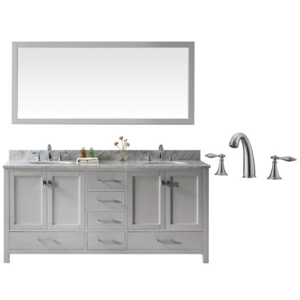 "Virtu Caroline Ave 72"" Cashmere Double Bathroom Vanity w/ White Top GD-50072 GD-50072-WMRO-CG-001"