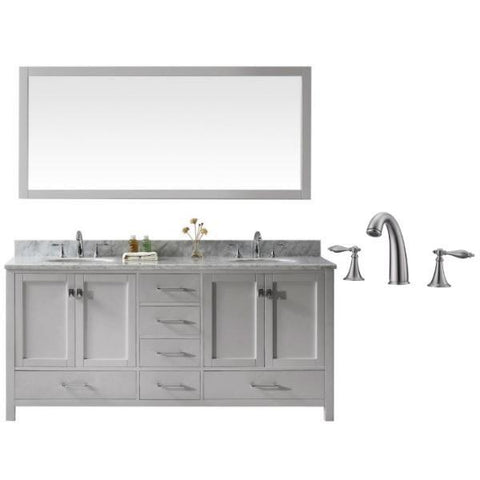 "Image of Virtu Caroline Ave 72"" Cashmere Double Bathroom Vanity w/ White Top GD-50072 GD-50072-WMRO-CG-001"