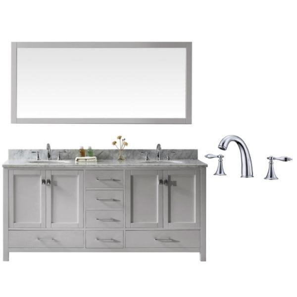 "Virtu Caroline Ave 72"" Cashmere Double Bathroom Vanity w/ White Top GD-50072 GD-50072-WMRO-CG-002"