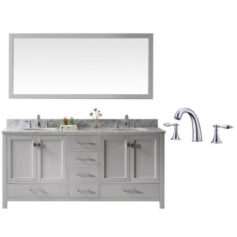 "Image of Virtu Caroline Ave 72"" Cashmere Double Bathroom Vanity w/ White Top GD-50072 GD-50072-WMRO-CG-002"