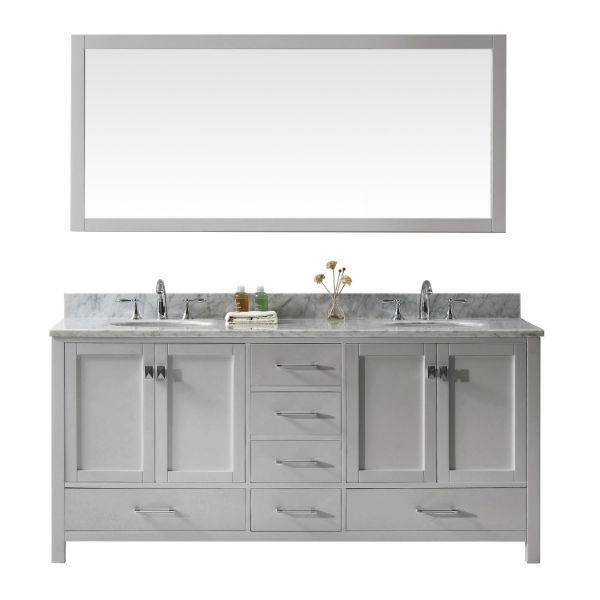 "Virtu Caroline Ave 72"" Cashmere Double Bathroom Vanity w/ White Top GD-50072 GD-50072-WMRO-CG"