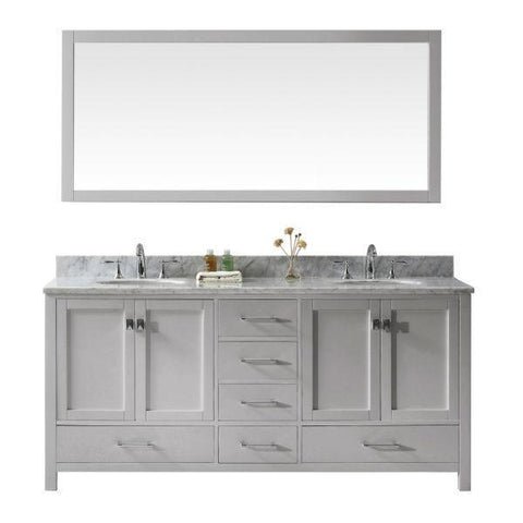 "Image of Virtu Caroline Ave 72"" Cashmere Double Bathroom Vanity w/ White Top GD-50072 GD-50072-WMRO-CG"