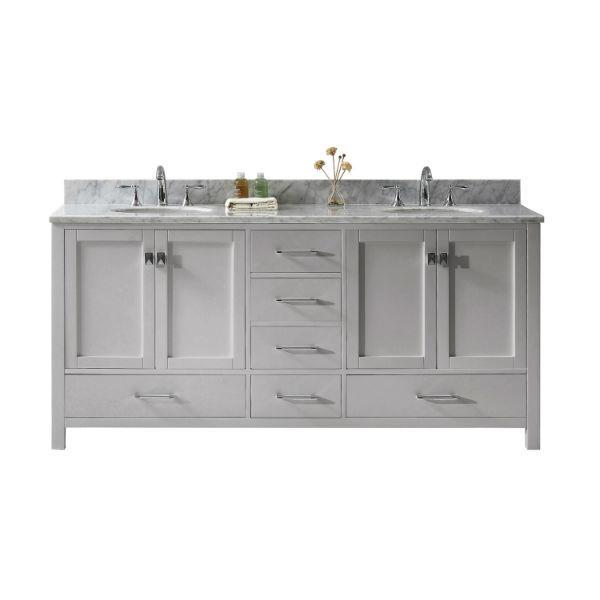 "Virtu Caroline Ave 72"" Cashmere Double Bathroom Vanity w/ White Top GD-50072 GD-50072-WMRO-CG-NM"