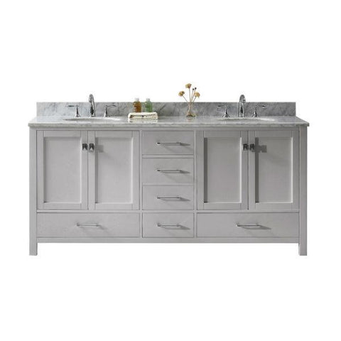 "Image of Virtu Caroline Ave 72"" Cashmere Double Bathroom Vanity w/ White Top GD-50072 GD-50072-WMRO-CG-NM"