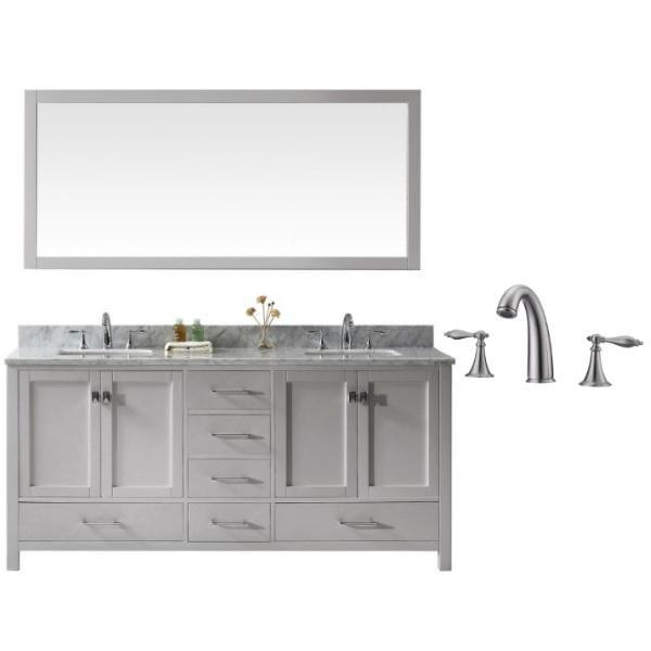"Virtu Caroline Ave 72"" Cashmere Double Bathroom Vanity w/ White Top GD-50072 GD-50072-WMSQ-CG-001"