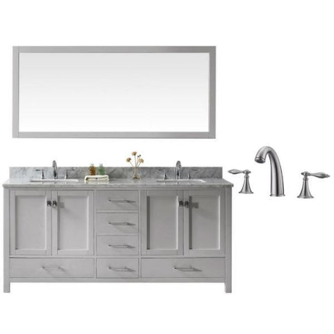 "Image of Virtu Caroline Ave 72"" Cashmere Double Bathroom Vanity w/ White Top GD-50072 GD-50072-WMSQ-CG-001"