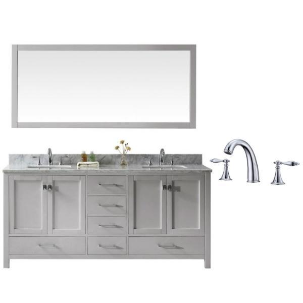 "Virtu Caroline Ave 72"" Cashmere Double Bathroom Vanity w/ White Top GD-50072 GD-50072-WMSQ-CG-002"
