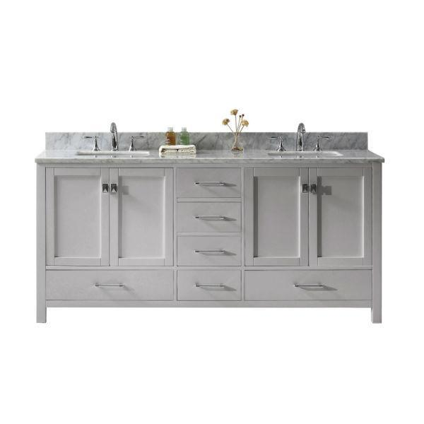 "Virtu Caroline Ave 72"" Cashmere Double Bathroom Vanity w/ White Top GD-50072 GD-50072-WMSQ-CG-NM"