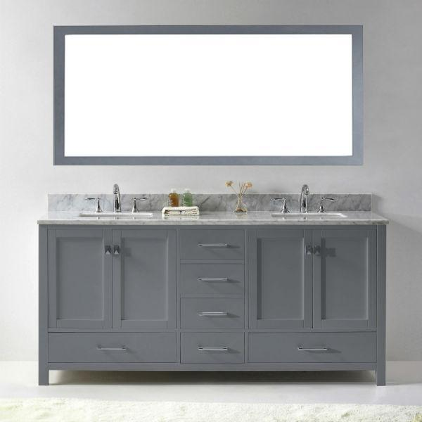 "Virtu Caroline Ave 72"" Grey Double Bathroom Vanity w/ White Top GD-50072"