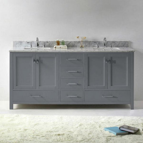 "Image of Virtu Caroline Ave 72"" Grey Double Bathroom Vanity w/ White Top GD-50072"