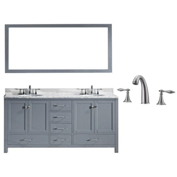 "Virtu Caroline Ave 72"" Grey Double Bathroom Vanity w/ White Top GD-50072 GD-50072-WMRO-GR-001"
