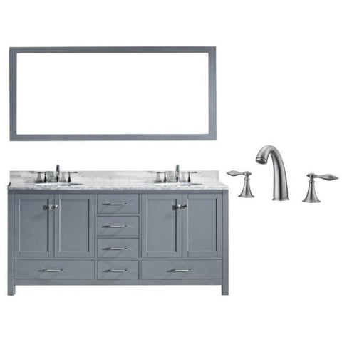 "Image of Virtu Caroline Ave 72"" Grey Double Bathroom Vanity w/ White Top GD-50072 GD-50072-WMRO-GR-001"