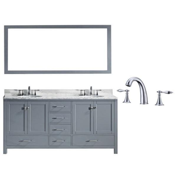 "Virtu Caroline Ave 72"" Grey Double Bathroom Vanity w/ White Top GD-50072 GD-50072-WMRO-GR-002"
