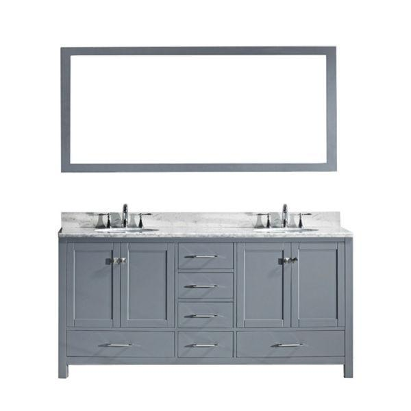 "Virtu Caroline Ave 72"" Grey Double Bathroom Vanity w/ White Top GD-50072 GD-50072-WMRO-GR"