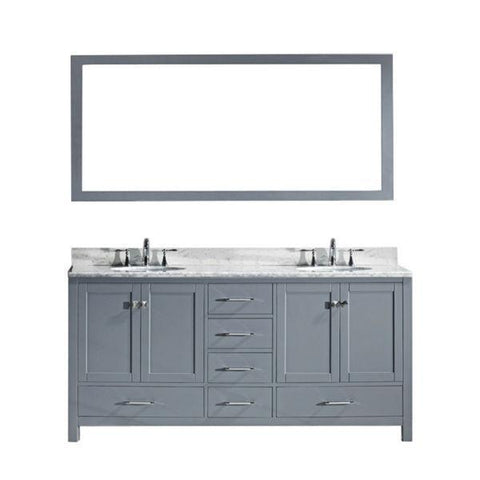 "Image of Virtu Caroline Ave 72"" Grey Double Bathroom Vanity w/ White Top GD-50072 GD-50072-WMRO-GR"