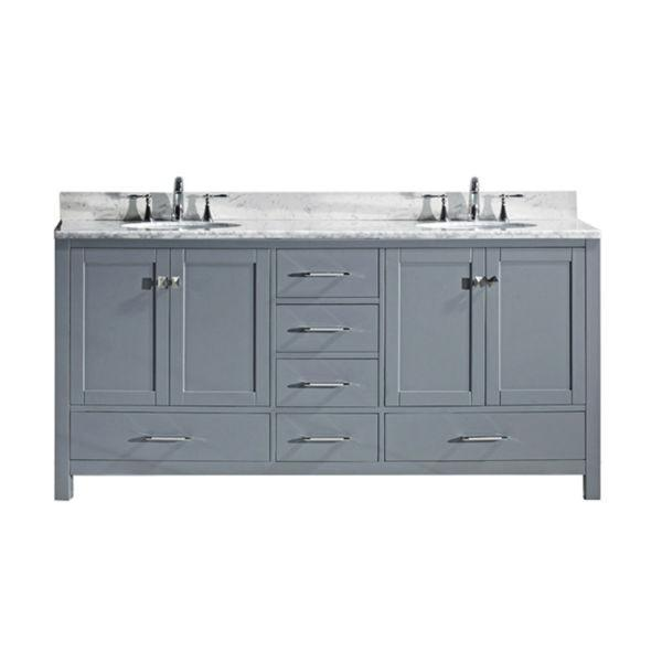 "Virtu Caroline Ave 72"" Grey Double Bathroom Vanity w/ White Top GD-50072 GD-50072-WMRO-GR-NM"