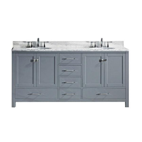 "Image of Virtu Caroline Ave 72"" Grey Double Bathroom Vanity w/ White Top GD-50072 GD-50072-WMRO-GR-NM"