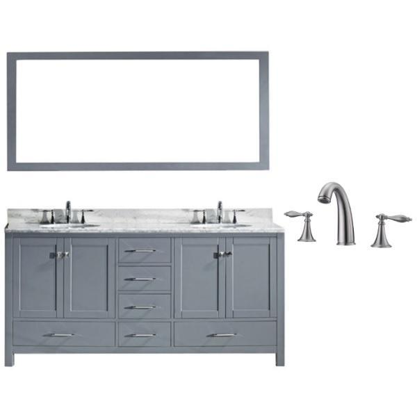 "Virtu Caroline Ave 72"" Grey Double Bathroom Vanity w/ White Top GD-50072 GD-50072-WMSQ-GR-001"