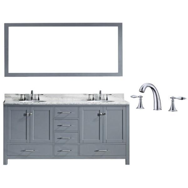 "Virtu Caroline Ave 72"" Grey Double Bathroom Vanity w/ White Top GD-50072 GD-50072-WMSQ-GR-002"