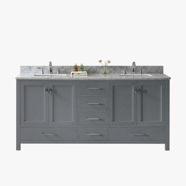 "Virtu Caroline Ave 72"" Grey Double Bathroom Vanity w/ White Top GD-50072 GD-50072-WMSQ-GR"