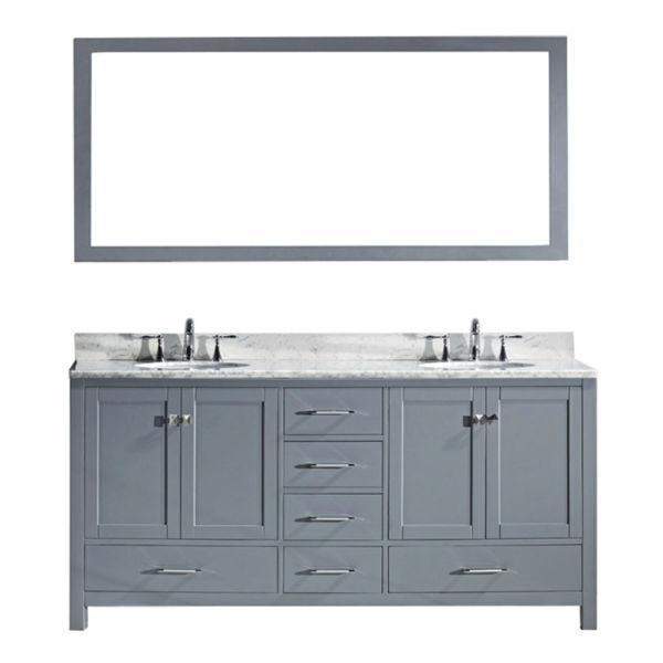 "Virtu Caroline Ave 72"" Grey Double Bathroom Vanity w/ White Top GD-50072 GD-50072-WMSQ-GR-NM"