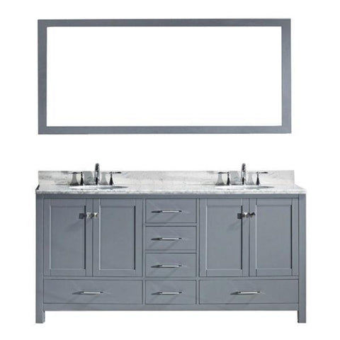 "Image of Virtu Caroline Ave 72"" Grey Double Bathroom Vanity w/ White Top GD-50072 GD-50072-WMSQ-GR-NM"