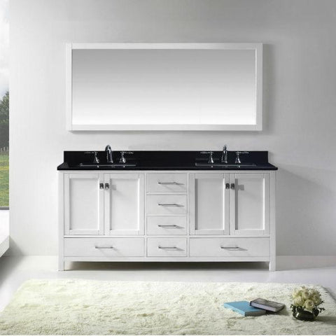 "Virtu Caroline Ave 72"" White Double Bathroom Vanity w/ Black Top GD-50072"