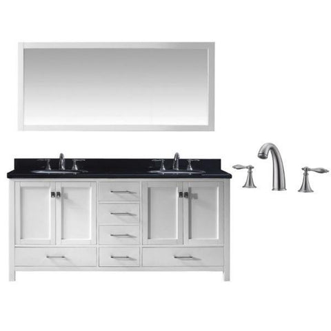 "Virtu Caroline Ave 72"" White Double Bathroom Vanity w/ Black Top GD-50072 GD-50072-BGRO-WH-001"