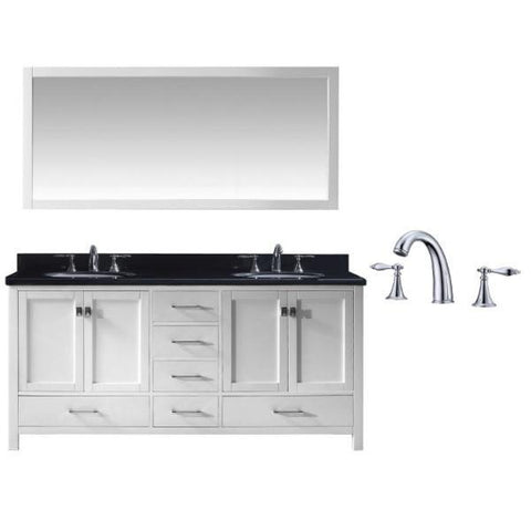 "Virtu Caroline Ave 72"" White Double Bathroom Vanity w/ Black Top GD-50072 GD-50072-BGRO-WH-002"