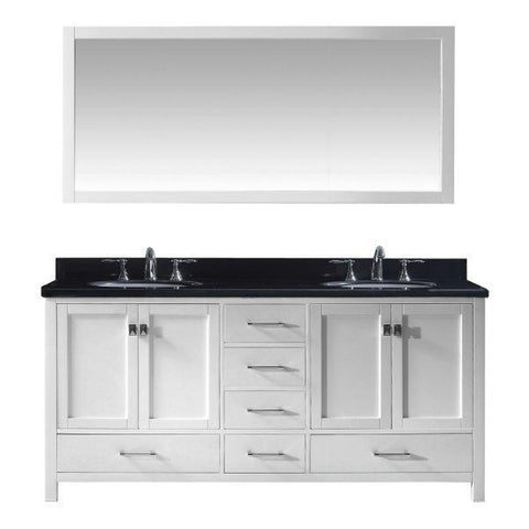 "Virtu Caroline Ave 72"" White Double Bathroom Vanity w/ Black Top GD-50072 GD-50072-BGRO-WH"