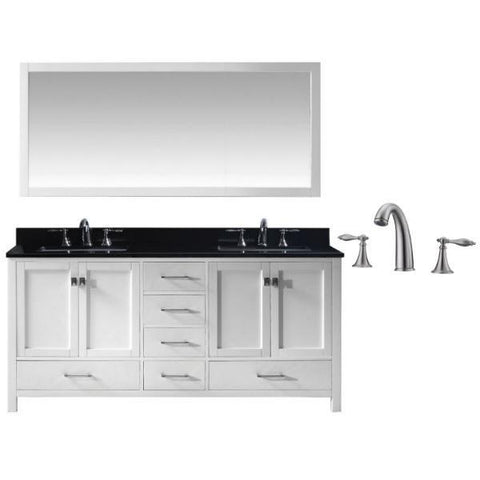 "Virtu Caroline Ave 72"" White Double Bathroom Vanity w/ Black Top GD-50072 GD-50072-BGSQ-WH-001"