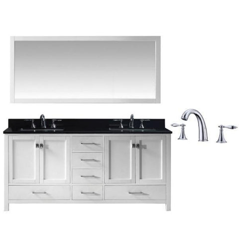 "Virtu Caroline Ave 72"" White Double Bathroom Vanity w/ Black Top GD-50072 GD-50072-BGSQ-WH-002"