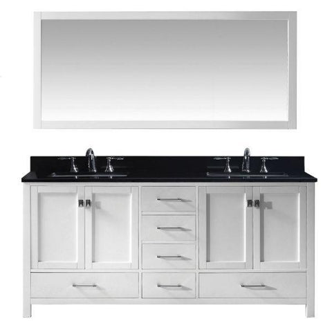 "Virtu Caroline Ave 72"" White Double Bathroom Vanity w/ Black Top GD-50072 GD-50072-BGSQ-WH"