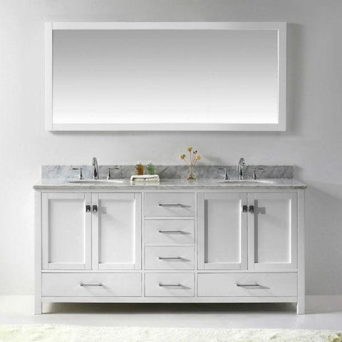 "Image of Virtu Caroline Ave 72"" White Double Bathroom Vanity w/ White Top GD-50072"