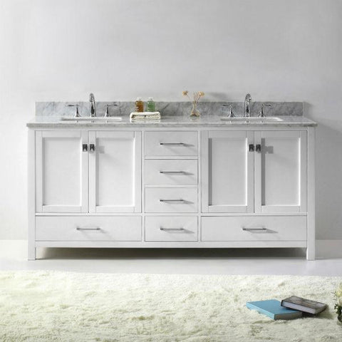 "Virtu Caroline Ave 72"" White Double Bathroom Vanity w/ White Top GD-50072"